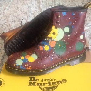 Other - Dr.Martens 1460 Cherry Red Splatter  Men Boots NEW